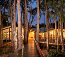 The main lodge at Kewarra Beach Resort at dusk